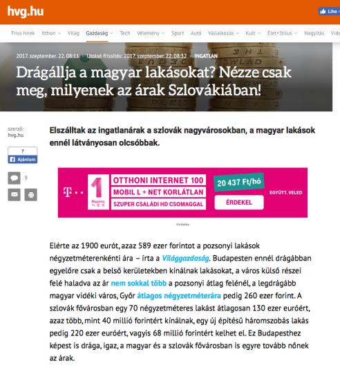 lakásárak Szlovákia lakás