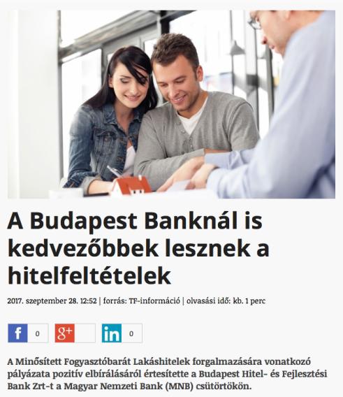 mnb lakáshitel lakás ingatlan hitel fogyasztóbarát Budapest Bank