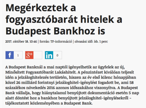 Megérkeztek a fogyasztóbarát hitelek a Budapest Bankhoz is